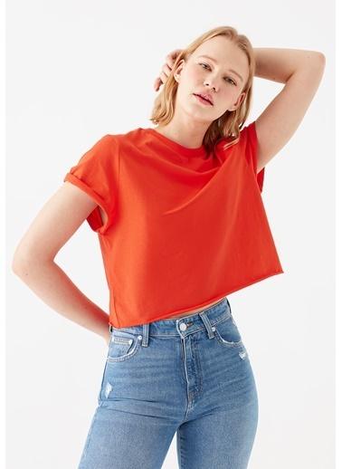Mavi Turuncu Crop Tişört Oranj
